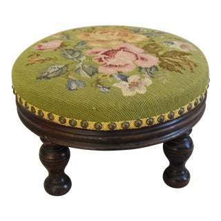 Antique French Hand-Wrought Floral Needlepoint Footstool