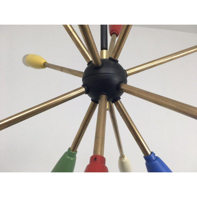 Brass 1950s Sputnik Pendant Chandelier Lamp in Different Colors For Sale - Image 7 of 9
