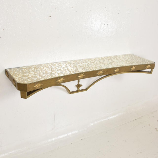 Arturo Pani Mid-Century Mexican Modernist Star Brass Wall Console Table For Sale - Image 10 of 10