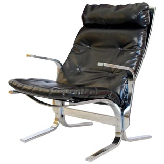 Mid-Century Modern Ingmar Relling Westnofa Style Chrome Wave Lounge Chair For Sale