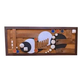 Mid Century Folk Art Wood Collage Artwork For Sale
