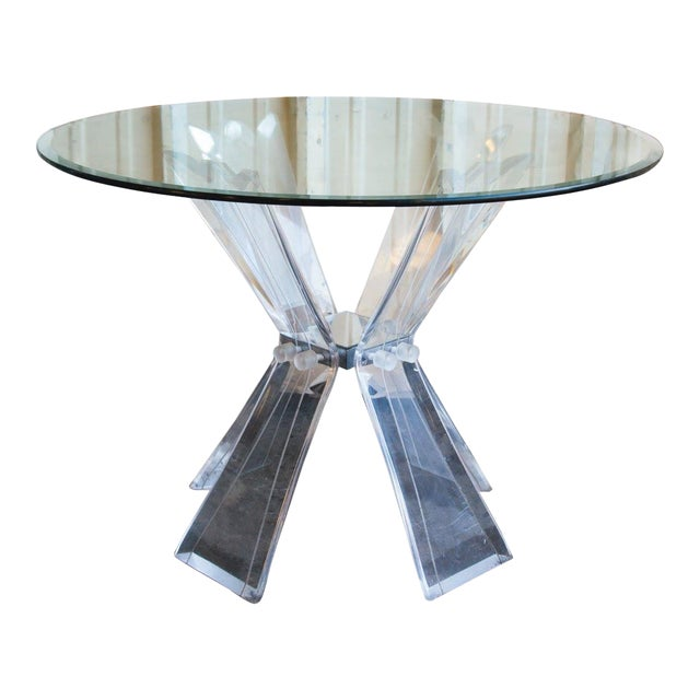 Mid-Century Modern Lucite and Glass Table For Sale