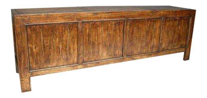 Custom Walnut Wood Japanese Inspired Rustic Console, Buffet Or Cabinet For  Sale