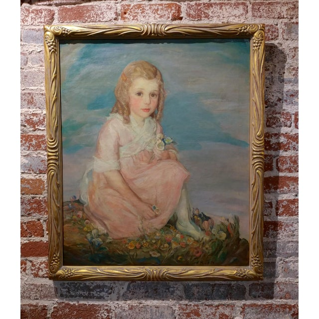 """Olive Rush - Portrait of Louise Block - Oil Painting - c1900s Oil painting on canvas - Signed frame size 27 x 32"""" canvas..."""