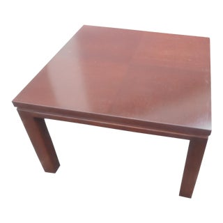Mid-Century Modern Henredon Parquet Wood Floating Top Dark Expresso Coffee Table For Sale