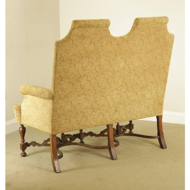 1900 - 1909 Jacobean Style Antique Walnut Base Upholstered Settee For Sale - Image 5 of 12