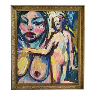 "L. Kazor, 1972 Colorful Abstract Nudes Titled ""Gina"" Oil Painting For Sale"
