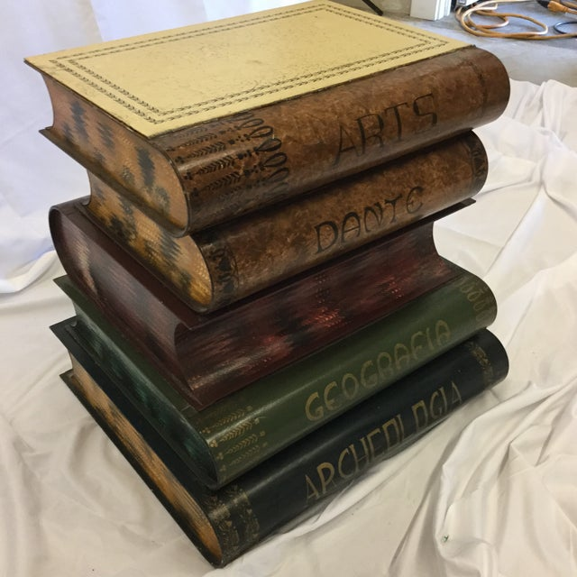 Americana Metal Faux Library Book Side Table For Sale - Image 3 of 11