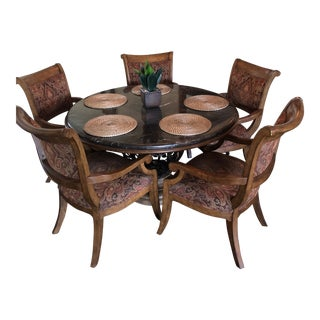 Drexel Heritage Marble Top Walnut Gourmet Dining Table & Chairs Set
