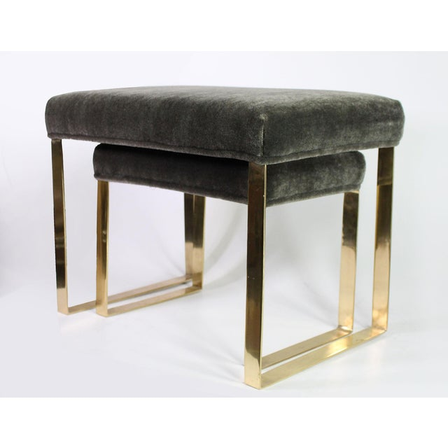 Metal Hollywood Regency Brass & Vintage Sage Green Alpaca Mohair Bench - Small For Sale - Image 7 of 8