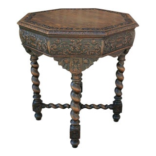 Antique French Barley Twist Octagonal Oak Parlor Table Center Table Renaissance For Sale