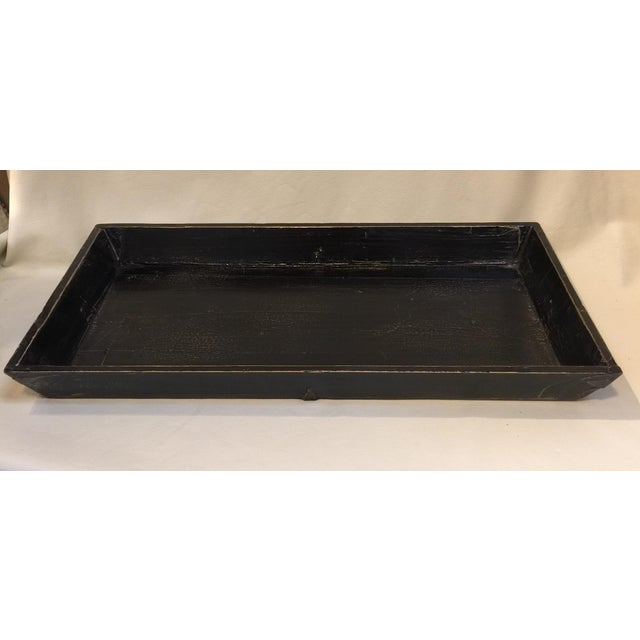 1980s Black Elm Asian Tray For Sale - Image 5 of 10