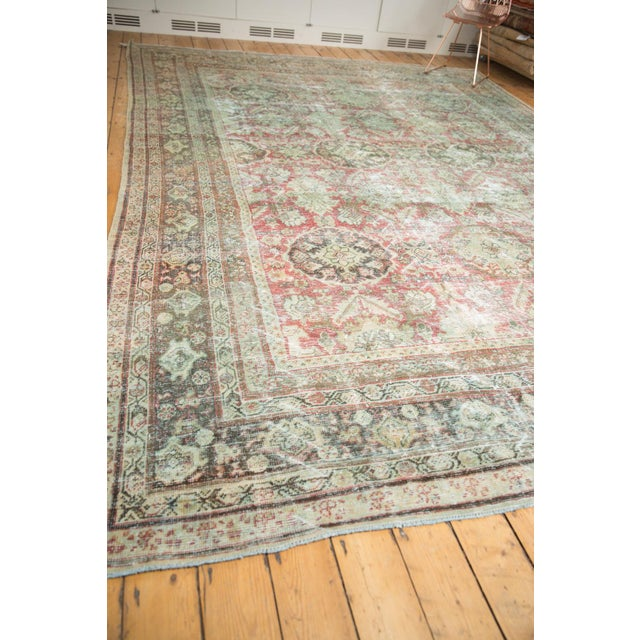 "Vintage Distressed Mahal Carpet - 10'5"" X 13'11"" For Sale - Image 10 of 13"