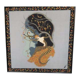 "Vintage Erte Framed Scarf ""The Seasons, Autumn."" For Sale"