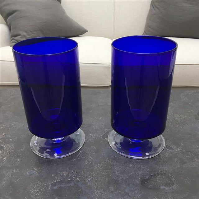 Cobalt Blue Glass Hurricanes - Image 4 of 6