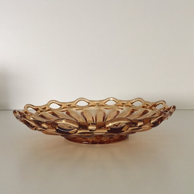 Vintage Amber Lace Edge Glass Bowl For Sale - Image 12 of 12