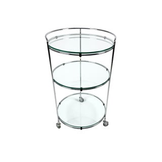 1970s Vintage Chrome and Glass Rolling Bar Cart For Sale