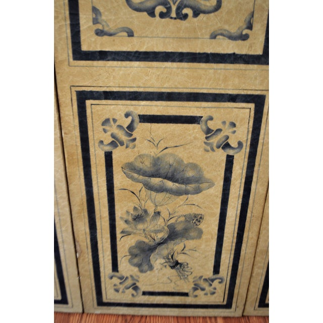 19th Century Para-Vent, Screnn, Hand Painted Floral Designs on Parchment Paper, Navy Blue and Beige. For Sale In Buffalo - Image 6 of 10