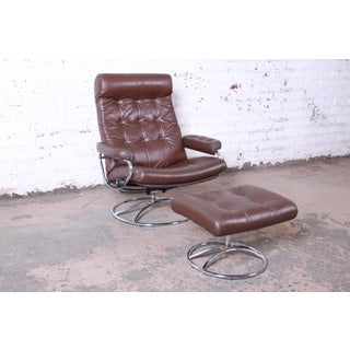 Vintage Ekornes Stressless Chrome and Leather Lounge Chair and Ottoman Preview