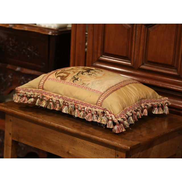 Handmade French Pillow With 19th Century Aubusson Verdure Tapestry Fragment For Sale - Image 4 of 10
