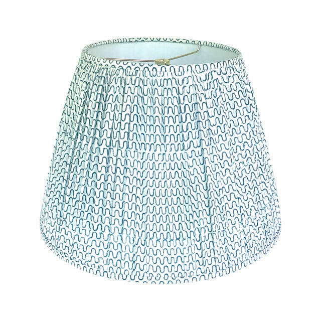 Not Yet Made - Made To Order Gathered Pleat Les Indiennes Indigo Lamp Shade 9x16x12 For Sale - Image 5 of 5