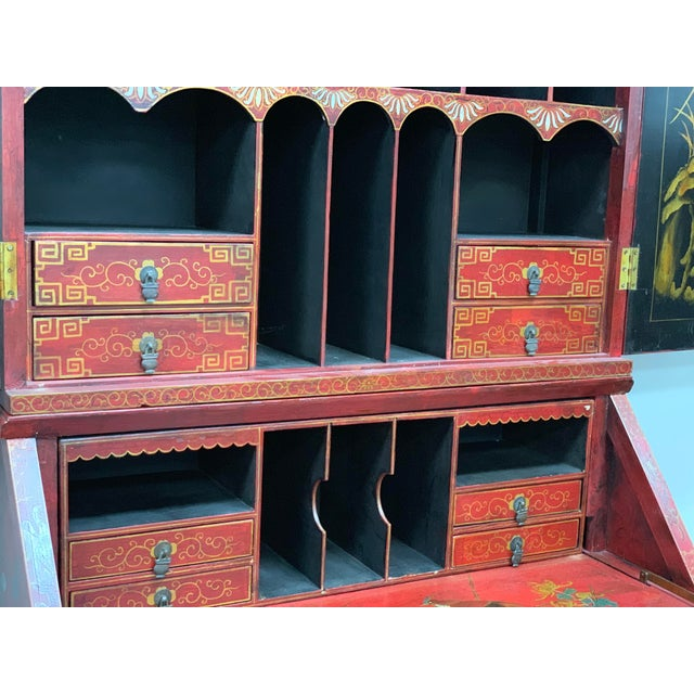 20th Century Chinoiserie Red Lacquered Bureau Bookcase For Sale - Image 11 of 13