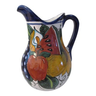 Large Mexican Talavera Pottery Pitcher