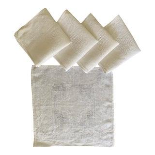 Vintage White Linen Cocktail Napkins- Set of 5 For Sale