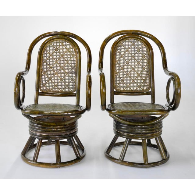 Mid-Century Modern Paul Frankl Style Bent Rattan & Wicker Swivel Armchairs - A Pair - Image 3 of 10