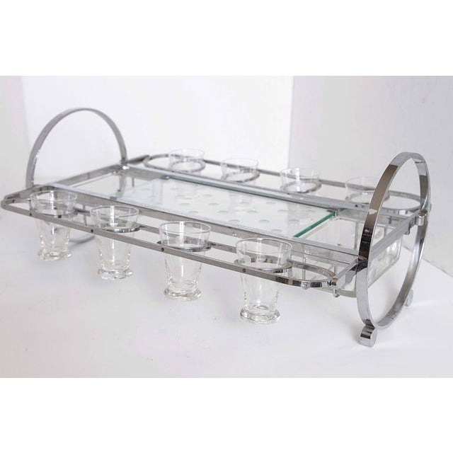 Glass Complete Original Gyroscopic Machine Age Art deco Cocktail Serving Caddy For Sale - Image 7 of 11