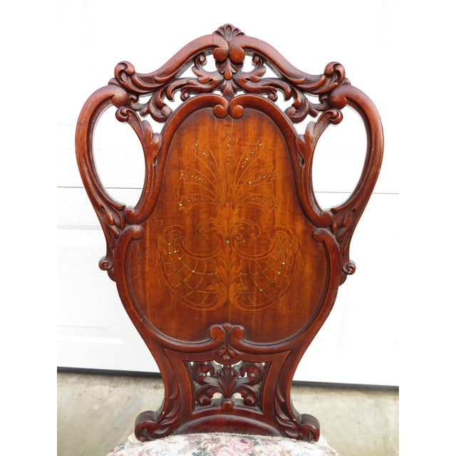 Late 19th Century Antique French Carved Mahogany Art Nouveau Side Chair For Sale - Image 4 of 13