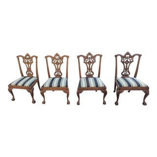 1980s Vintage Chinese Chippendale Style Dining Chairs- Set of 4 For Sale