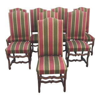 Antique French Os De Mouton Pegged Oak Dining Chairs - Set of 8 For Sale