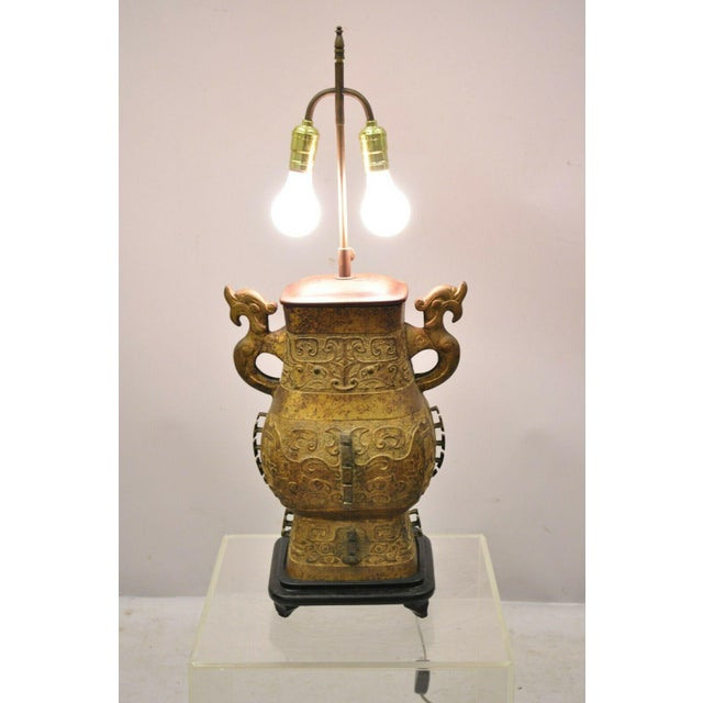 Antique Chinese Gilt Bronze & Rosewood Figural Double Light Table Lamp For Sale - Image 10 of 13