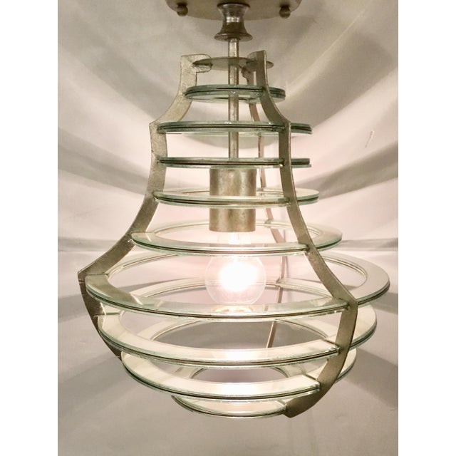 Currey & Company Modern Currey & Co. Mirrored Cascading Silver Disc Lantern For Sale - Image 4 of 5
