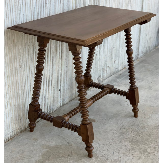 Spanish Baroque Side Table With Wood Stretcher and Carved Top in Walnut For Sale - Image 4 of 13