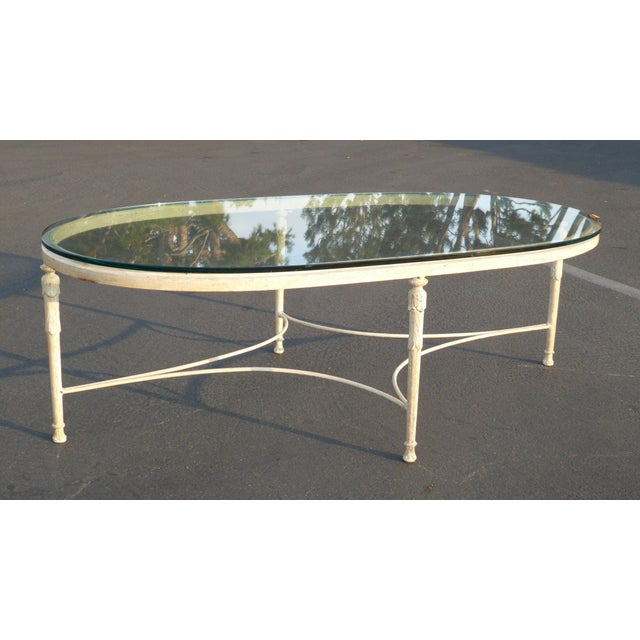 French Provincial Oval Coffee Table: Vintage French Country Style Oval Off-White Iron Glass Top