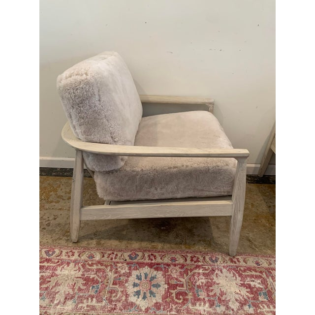 Mid-Century Modern Mid-Century Inspired Shearling Lounge Chairs - a Pair For Sale - Image 3 of 12