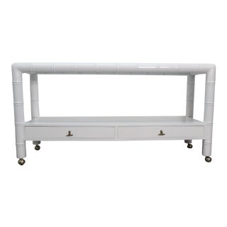 Hollywood Regency White Lacquer Bamboo Console For Sale
