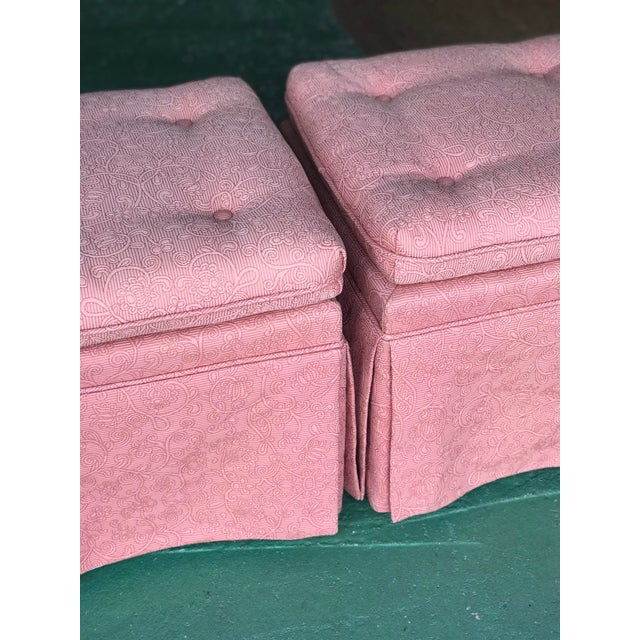Pink Vintage Pink Tufted Skirted Upholstered Ottomans-A Pair For Sale - Image 8 of 11