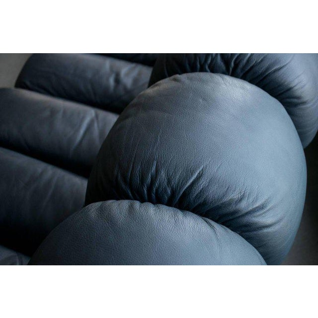 De Sede Ds-600, Non-Stop Sofa, 21 Sections in Charcoal Blue Leather For Sale - Image 12 of 13