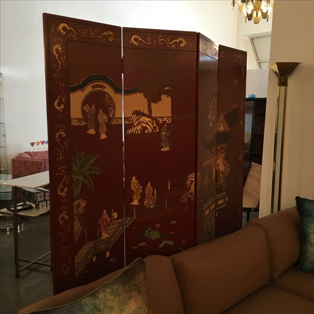 Signed Mid Century Modern Maitland Smith Four-Panel Asian Themed Wood & Brass Screen - Image 7 of 11