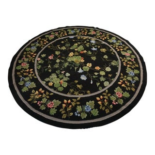 Vintage Round Needlepoint Rug For Sale