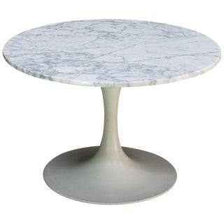 1960s International Style White Carrara Marble Tulip Coffee Table by Burke For Sale
