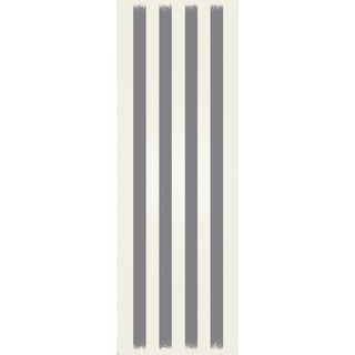 Grey & White Striped European Design Rug - 2' X 6'