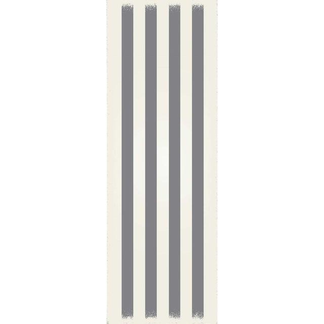 Grey & White Striped European Design Rug - 2' X 6' For Sale