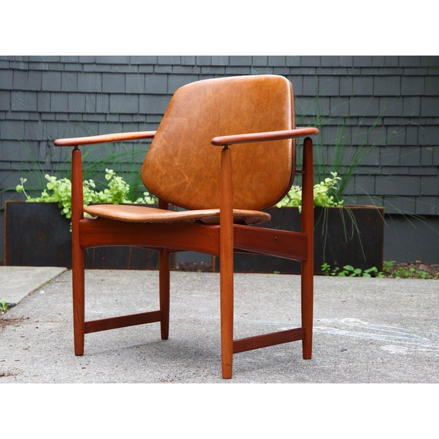 1960s Mid-Century Modern Arne Hovmand Olsen Teak Back Chair For Sale - Image 13 of 13