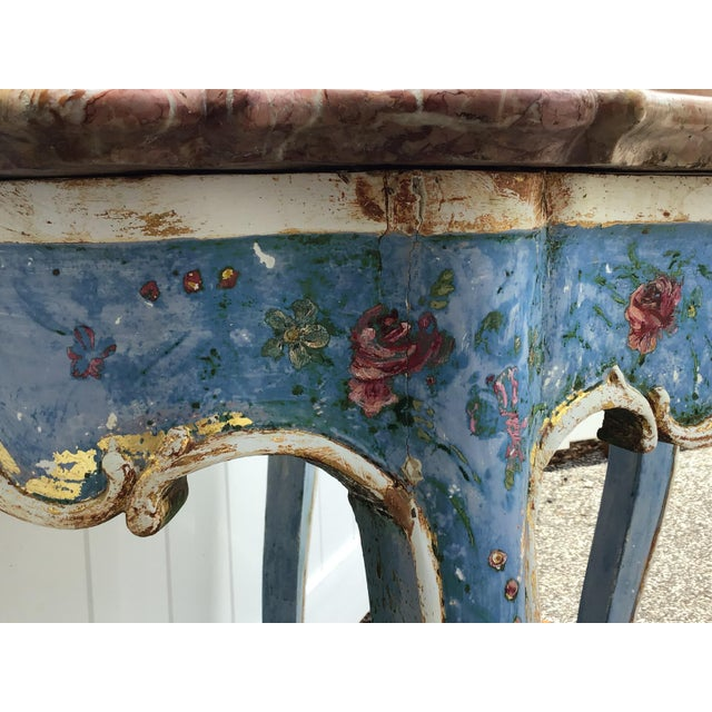 Venetian Painted Marble Top Console Table For Sale - Image 4 of 12