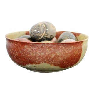 Contemporary Modern Stone Bowl W Stone Eggs Table Sculpture For Sale