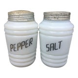 Image of White Milk Glass Salt & Pepper Shakers - a Pair For Sale
